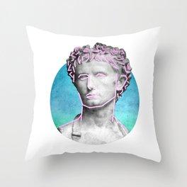 Aesthetic 90's Retro Vaporwave Augustus statue Throw Pillow