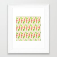 vegetable Framed Art Prints featuring VEGETABLE-CARROTS! by Claudia Ramos Designs