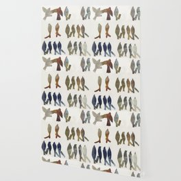 Navy and Ocher Birds Abstract Wallpaper