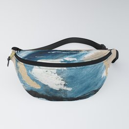 You are an Ocean - abstract India Ink & Acrylic in blue, gray, brown, black and white Fanny Pack