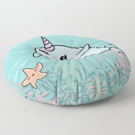 Cute Narwhal and Starfish Floor Pillow