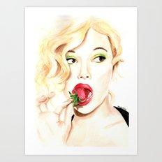 Strawberry. Scarlet Johansson. Art Print