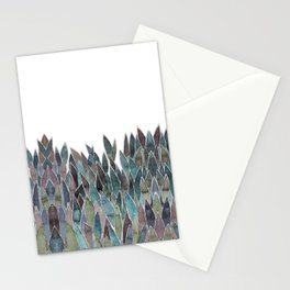 Plants decorations shades of green and purple watercolor Stationery Cards