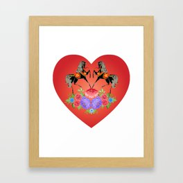 Horse Girl Women I Love Horses Cute Heart Horseback Riding Horse Fan & Lover Gift. Framed Art Print