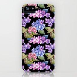 Hydrangea Purple Blue Black Watercolor Pattern iPhone Case