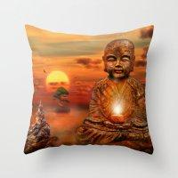 buddha Throw Pillows featuring Buddha by teddynash