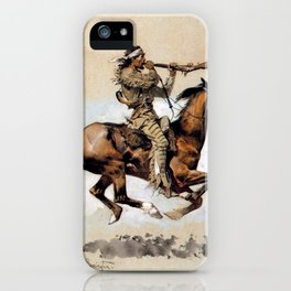 "Frederic Remington ""Buffalo Hunter Spitting Bullets"" Western Art iPhone Case"