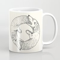 eat Mugs featuring Dog Eat Dog by Andrew Henry