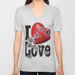 Heart Series Love Bullet Holes In Paintings Unisex V-Neck