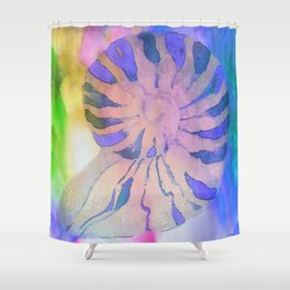 NAUTILUS SEA SHELL BLUE AND PURPLE IMPRESSIONS Shower Curtain