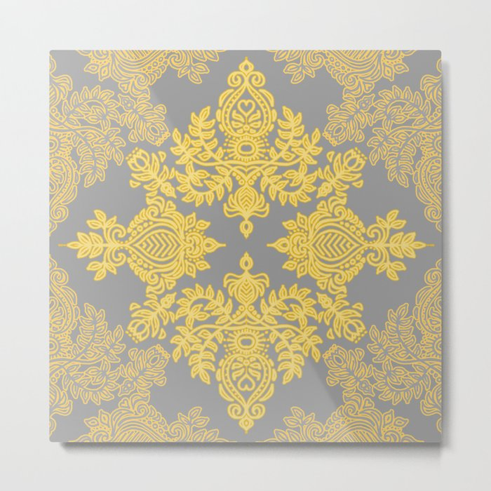 Golden Folk - doodle pattern in yellow & grey Metal Print