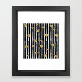 Gold Glitter Hearts Black and White Stripes Framed Art Print