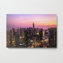 Skyline Jumeirah Lake Towers, Dubai, United Arab Emirates at Dusk Metal Print