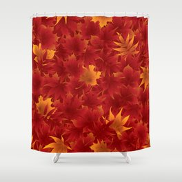 Seamless maple leaves pattern 002 Shower Curtain