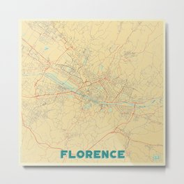 Florence Map Retro Metal Print