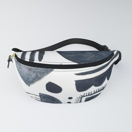 Hand Painted 'Alien Language' Doodle Pattern Black on White Fanny Pack