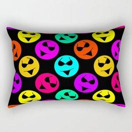 Smiley Bikini Bright Neon Smiles on Black Rectangular Pillow