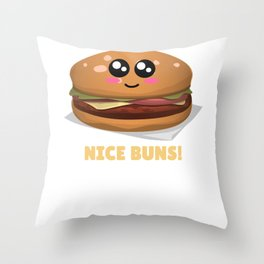 Nice Buns Funny Burger Pun Throw Pillow