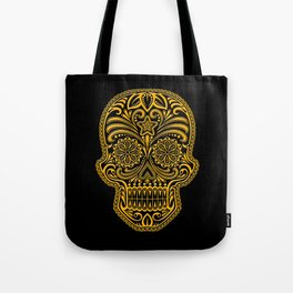 Intricate Yellow and Black Day of the Dead Sugar Skull Tote Bag