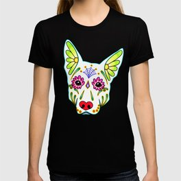 German Shepherd in White - Day of the Dead Sugar Skull Dog T-shirt
