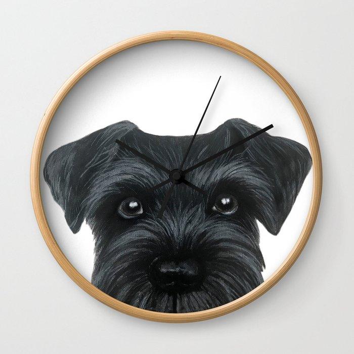 Black Schnauzer, Dog illustration original painting print Wall Clock