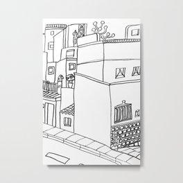 Street Of Malaga - Drawing Metal Print