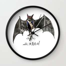 Halloween Welcome to the Ball Vampire Bat Greeting Card Wall Clock