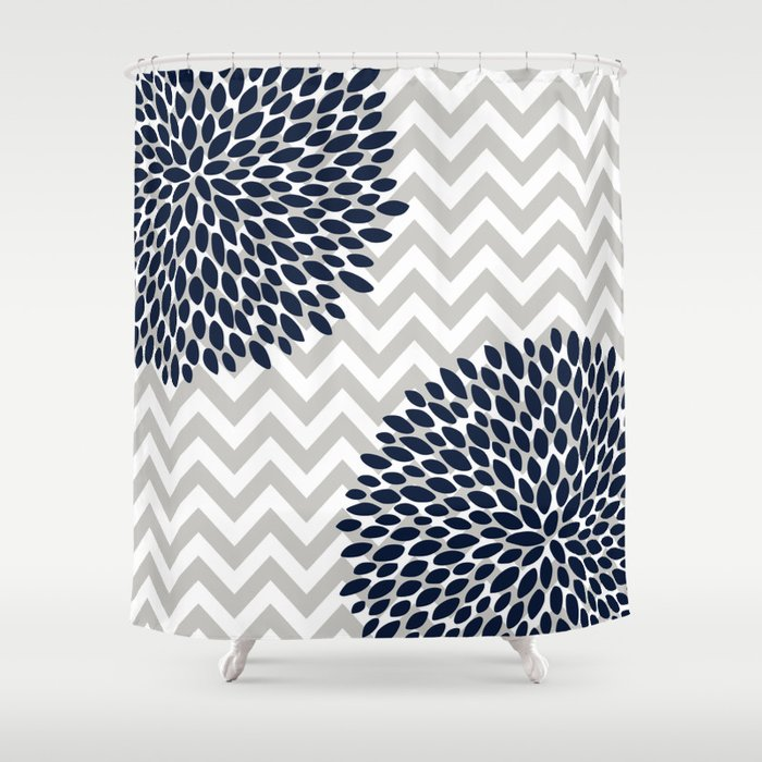 Chevron Floral Modern Navy And Grey Shower Curtain By Meganmorrisart