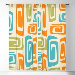 Mid Century Modern Cosmic Abstract 738 Orange Blue and Green Blackout Curtain
