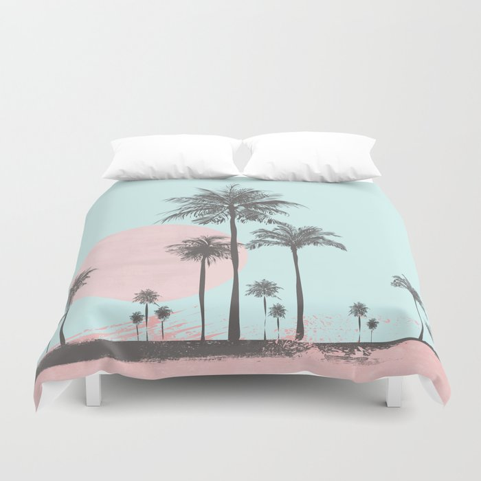 Beachfront Palm Tree Soft Pastel Sunset Graphic Duvet Cover