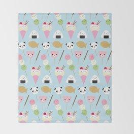 Japanese Kawaii Snacks Throw Blanket