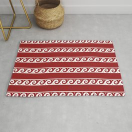 Red and white Greek wave ornament pattern Rug