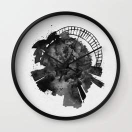 Sydney, Australia Black and White Skyround / Skyline Watercolor Painting Wall Clock