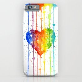 Rainbow Heart Watercolor iPhone Case