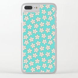 Small Cream Flowers on Turquoise Clear iPhone Case