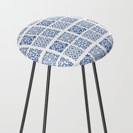 N50 - Antique Oriental Traditional Blue Moroccan Tiles Style Counter Stool