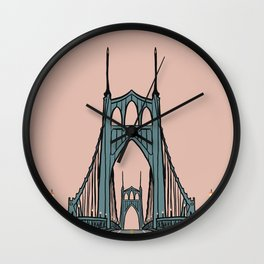 St. Johns Bridge Illustration Pink PDX Wall Clock