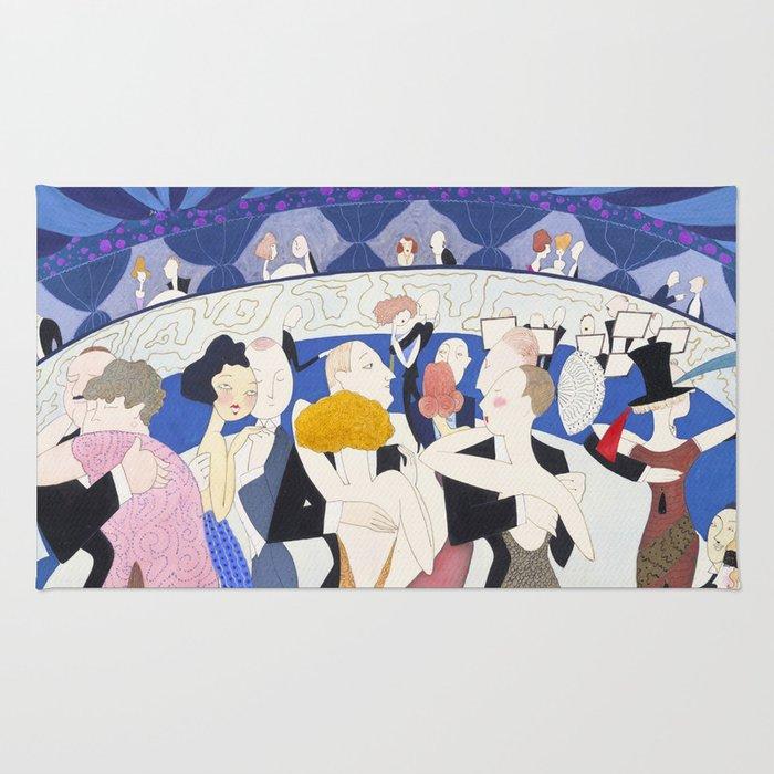 1920s Nightclub Illustration for Vanity Fair Rug
