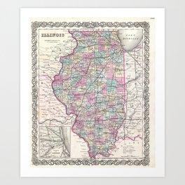 Vintage Map of Illinois (1855) Art Print