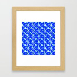 Blue Floral And Turtles Hawaiian Pattern Framed Art Print