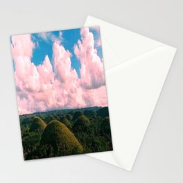 Green Hills By The Cloudy Sky Stationery Cards