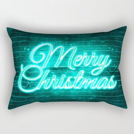 Turquoise neon Merry Christmas 4k Turquoise brickwall Happy New Years Concept Turquoise Merry Christ Rectangular Pillow