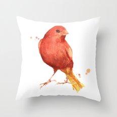 Canary, songbird, birds, bird painting, bird illustration Throw Pillow