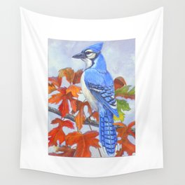Blue Jay in Autumn Wall Tapestry