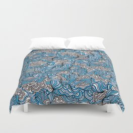 Gray Day with Blue Feelings Duvet Cover