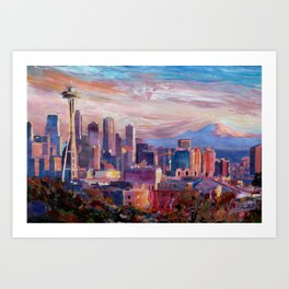 Seattle Skyline with Space Needle and Mt Rainier Art Print