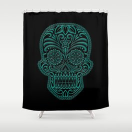 Intricate Teal Blue and Black Day of the Dead Sugar Skull Shower Curtain
