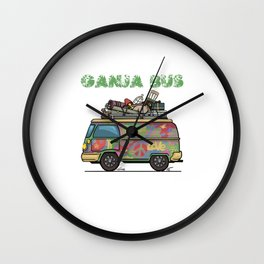 Ganja Bus Graphic T-shirt Wall Clock