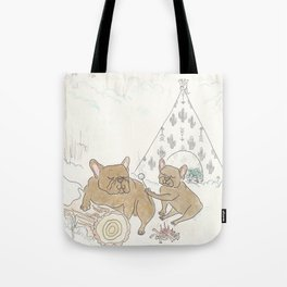Cute French Bulldogs Camping and Toasting Marshmallows Tote Bag