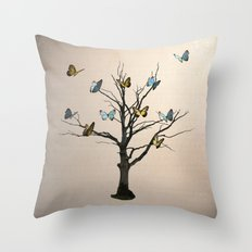 Tree of flutters Throw Pillow